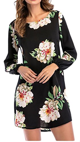 Sleeve Long Womens Black Print Blouse T Top Crewneck Cromoncent Dress Shirts 1qIBnPtB