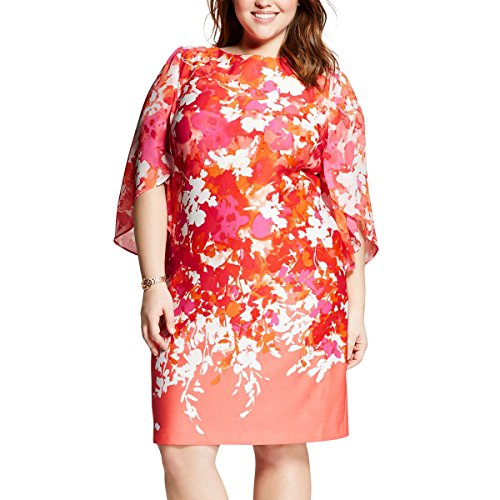 Sandra Darren Women Plus Size Bell Sleeve Floral Print Sheath Dress - Plus Size Party Dresses - Coral