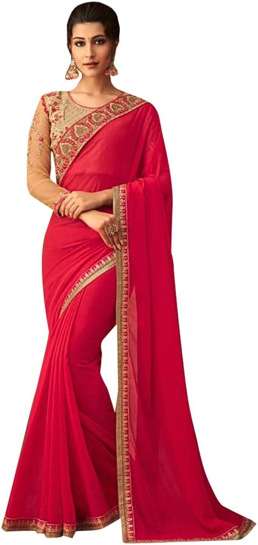 TreegoArt Fashion Frauen Kunst Seide indischen ethnischen Saree mit nicht gen/ähten Bluse St/ück