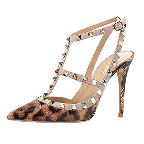 VOCOSI Women's Slingbacks Strappy Sandals for Dress,Pointy Toe Studs High Heels Sandals Shoes Leopard(patent)
