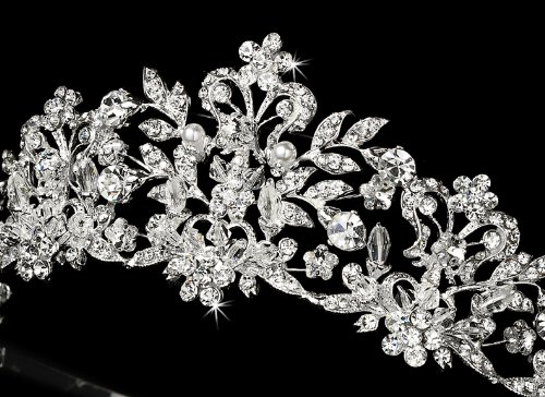 Neidy Swarovski Crystal and White Pearl Wedding Bridal Tiara