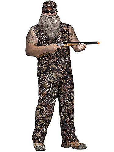Fun World Men's Plus Size Duck Hunter Coveralls Camo Beard Halloween Costume, Multi, Plus Size -