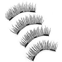 4 Pieces Fake Eyelash Invisible Magnetic Lashes Mink Eyelashes With Tweezers Mink Lashes Thick Full Strip Lashes False Eyelashes
