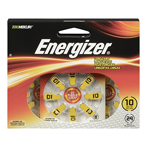 - Energizer EZ Turn & Lock Size 10 Hearing Aid Batteries, (Pack of 24)
