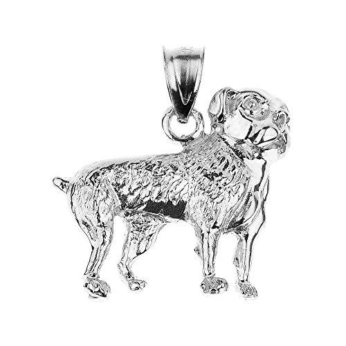 (Polished 14k White Gold Bulldog Charm Pendant)
