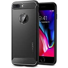 Spigen Rugged Armor iPhone 8 Plus / iPhone 7 Plus Case with Resilient Shock Absorption and Carbon Fiber Design for Apple iPhone 8 Plus (2017) / iPhone 7 Plus (2016) - Black