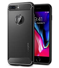 Funda iPhone 8 plus/ Funda iPhone 7 Plus, Spigen® [Rugged Armor] Resilient [Negro] Ultimate protection from drops and impacts Funda Carcasa para iPhone 7 plus (2016) / iPhone 8 plus (2017) - (043CS20485)