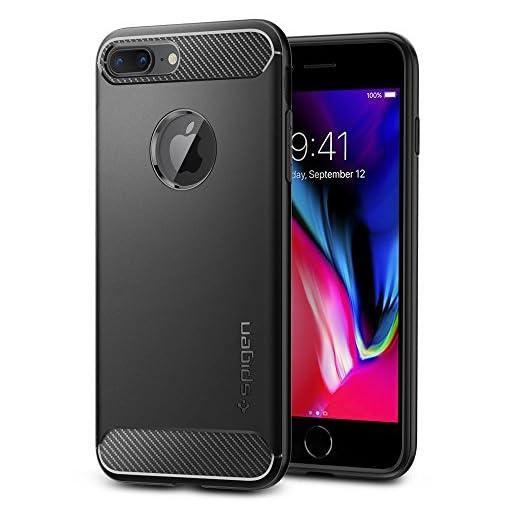 Spigen Cover Rugged Armor Compatibile con iPhone 8 Plus Compatibile con iPhone 7 Plus - Nero