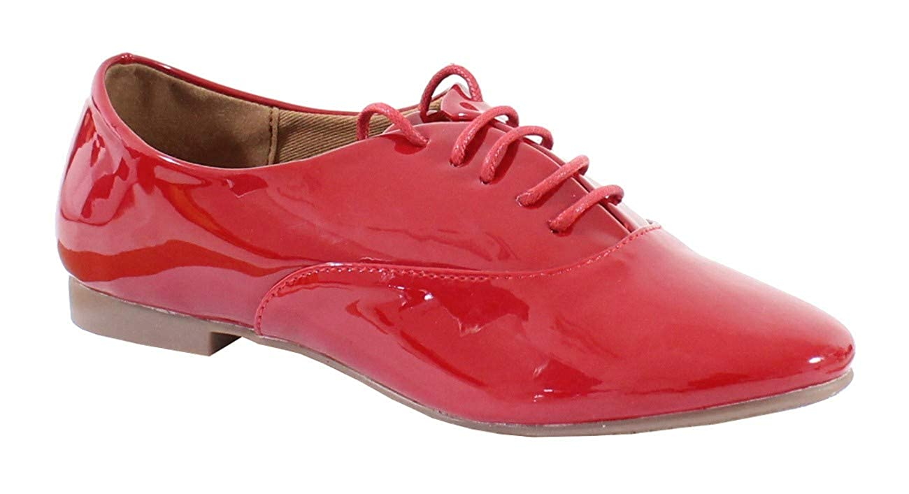 By Shoes Derbies Plate Effet Vernis Femme