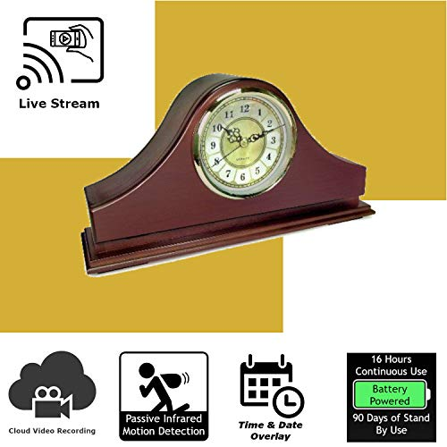 - Discover IT | Wi-Fi Hidden Camera Spy Cam Home Surveillance Nanny Cam Mantel Clock with Cloud Video Recording, Battery Operated