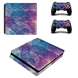 eSeeking Whole Body Vinyl Skin Sticker Decal Cover For PS4 Slim Console and 2PCS Controller Blue and Purple Geometric Grid and Circular For Sale