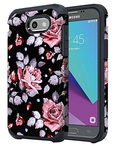 for Samsung Galaxy J3 Emerge / J3 Prime / J3 Mission / J3 Eclipse / J3 2017 / J3 Luna Pro/Sol 2 / Amp Prime 2 / Express Prime 2 Case, OEAGO Shockproof Armor Case Cover (Black Rose Flower)