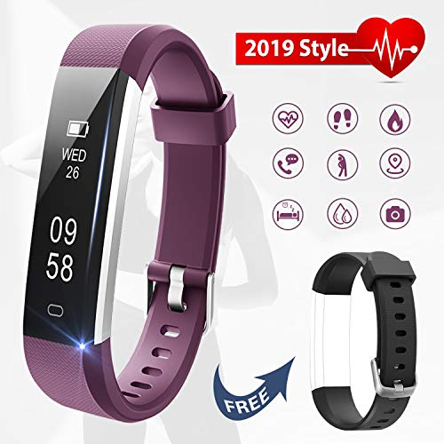 Lintelek Fitness Tracker with Heart Rate Monitor, Slim Pedometer Watch with Sleep Monitor, IP67 Waterproof Sports Activity Fitness Smart Watch with Replacement Band for Women Men Kids