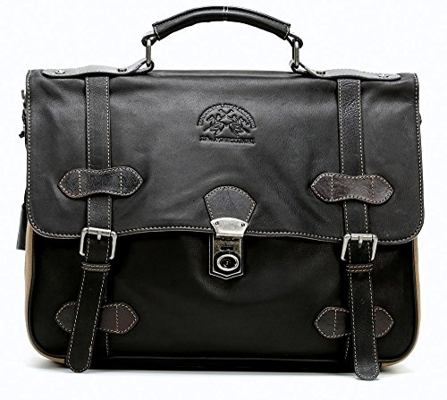 "Borsa cartella tracolla La Martina porta computer pc 13"" black pelle Major Hombre"