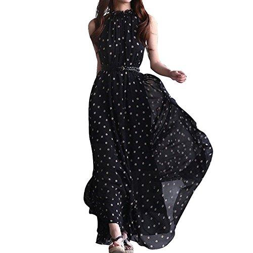 Womens Polka Dots Long Casual Summer Dress Beach Dress Party Chiffon Dress Maxi Dress (black)