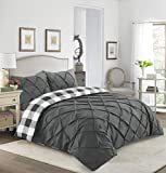 Sunshine Linens Pintuck Checked Duvet Cover Set Percale Cotton Bedding Quilt Duvets Cover Bed Sets With Pillowcase (Charcoal Grey, Double Duvet Set)