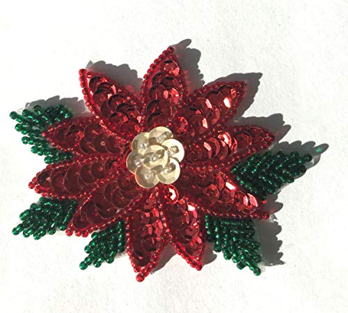 (Poinsettia Christmas Beaded Sequined Sew-On Applique Patch)