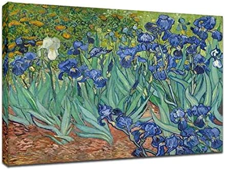 Wieco Art Irises by Van Gogh Canvas Prints of Famous Oil Paintings Reproduction Modern Framed Flowers Floral Pictures on Canvas Wall Art Work Ready to Hang for Home Office Decorations CA-VAN-0001-3040