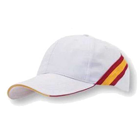 GORRA BLANCA BANDERA DE ESPAÑA REGULABLE PADEL GOLF: Amazon.es ...