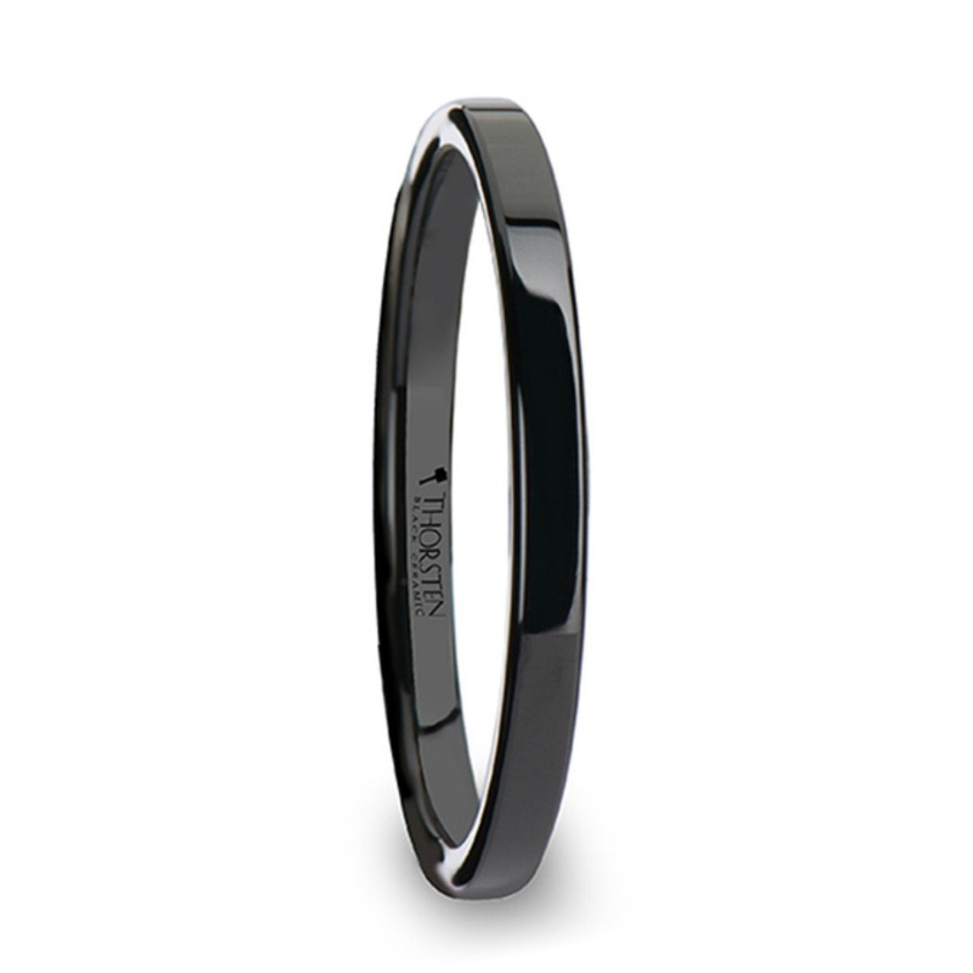 Thorsten Faith Black Flat Shaped Ceramic Wedding Ring for Her 2 mm Wide Wedding Band from Roy Rose Jewelry