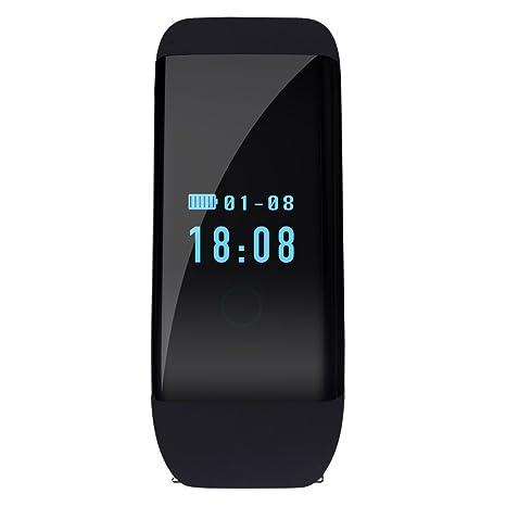 BAIYEA pulsómetro actividad fitness pista reloj inteligente reloj de pulsera, HR salud Tracker pulsera reloj
