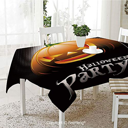 (BeeMeng Large dustproof Waterproof Tablecloth,Family Table Decoration,Halloween,Halloween Party Theme Scary Pumpkin on Abstract Modern Backdrop Spider Decorative,Silver Black Orange,70 x 104)