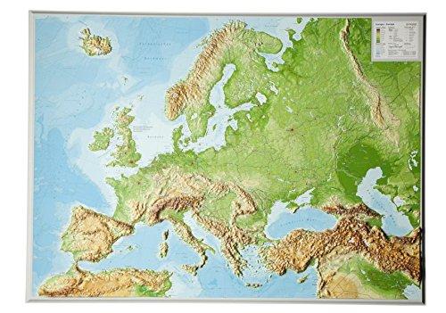 Europa Gross 1:8.000.000 ohne Rahmen: Reliefkarte  Europa (Tiefgezogenes Kunststoffrelief)