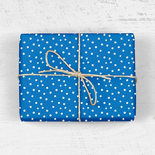 (Starry Night Wrapping Paper - Polka Dots, Snowflakes, Modern, Boy, Girl, Scrapbooking, Craft Paper, Bar Mitzvah, Christmas, New Years, Hanukkah)