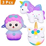 Rosybeat 3PCS Slow Rising Squishies Jumbo Scented Squeeze Squishy Toys Kawaii Sheep Stress Relief Decoration Toys For Kids Gift (Sheep unicorn Donut Horse)