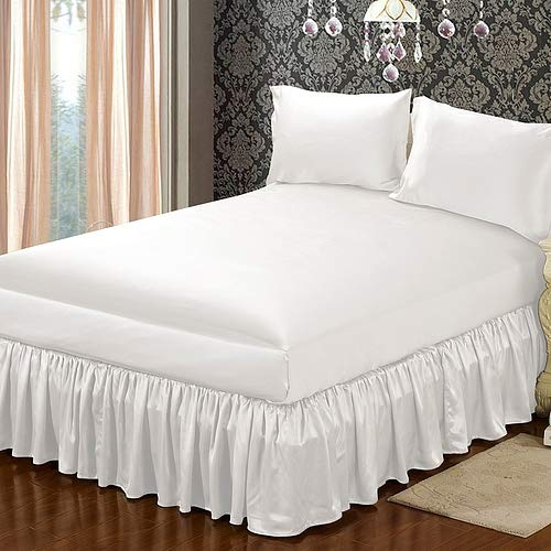 RJ BEDDING ホテル品質 ラグジュアリー&ソフトサテンシルク 4ピースシーツセット 1000TC ホワイト 無地 キングサイズ ボックスシーツ用深いポケットサイズ 16インチ B07S49F1W2