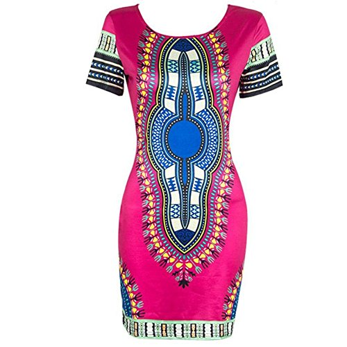 Orangesky Women Traditional African Print Dashiki Bodycon Short Sleeve Dress (L, Hot - African Hot Woman