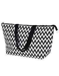 Moriginal Stylish Pattern Prints Beach Tote Bag Women Lightweight Large Handbag (Black Stripe)