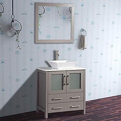 Vanity Art 30 inch Single Sink & Bathroom Vanity Combo - Free Mirror - Compact 2 Door, 2 Drawer Bathroom Cabinet White Quartz Top (Gray) - VA3130