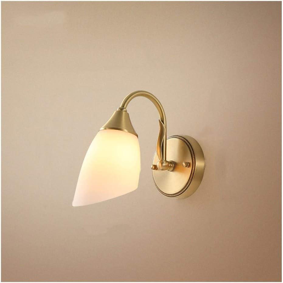 壁ランプシングルヘッドアメリカンスタイルのリビングルームの壁装飾ライトシンプルな雰囲気のベッドルームベッドサイドアート銅ウォールライト Rxyxnde