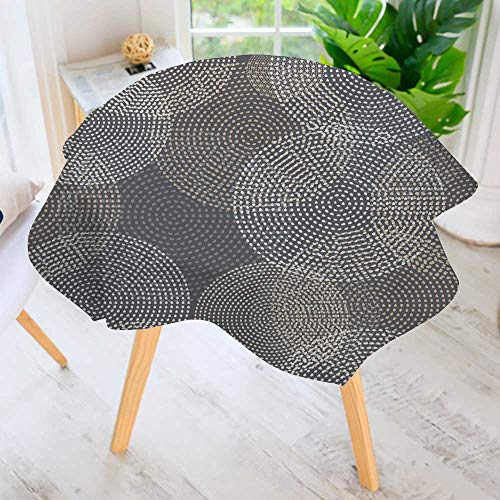 Cheap  PRUNUS Easy-Care Cloth Tablecloth Round- Vector Background with Decorative Dotted Circles Print..