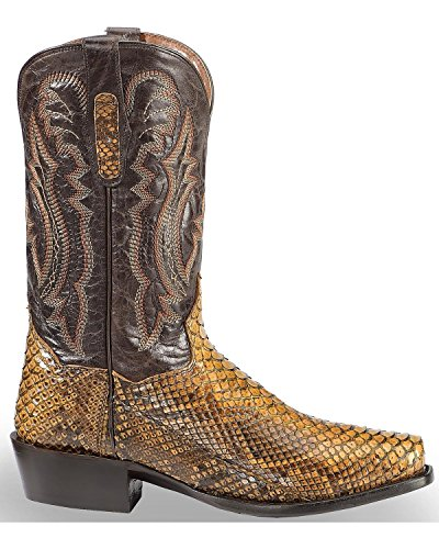 Dan Post Heren Taupe Back Cut Python Cowboy Boot Square Toe Taupe 9 D