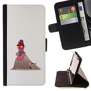 Momo Phone Case / Flip Funda de Cuero Case Cover - Red Cat gris rata Grandes Amigos Gorra de montar - Samsung Galaxy S5 V SM-G900