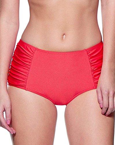 Traje de baño de la parte inferior de Audelle Bragas de Alta Vacaciones Brillo Rojo