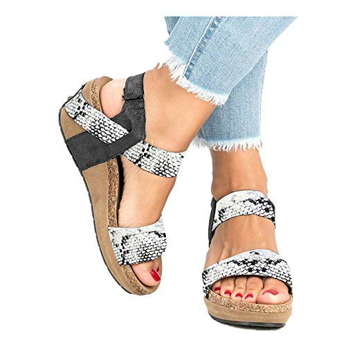 Womens Leopard Open Toe Ankle Strap Sandals - Summer Casual Espadrilles Flatform Wedge Party Dress Shoes (White -2, Size:41/US:8.0)