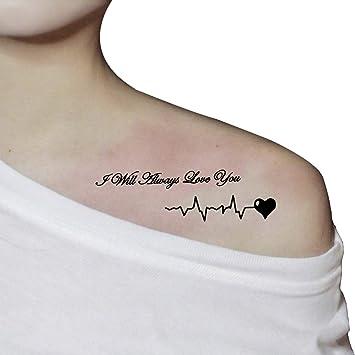 bc9f236ae5825 Amazon.com: TAFLY Body Black Words Temporary Tattoo Sticker Letter ...