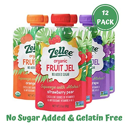 Zellee Certified Organic Fruit Jel Pouches   Variety Pack   12 pack   Non-GMO, Gluten-Free, Vegan, Plant-Based, No Added Sugar, Antioxidant Rich   Healthy Snack for Adults & Kids   Jello Alternative (Organic Non Gmo Fruit Snacks)