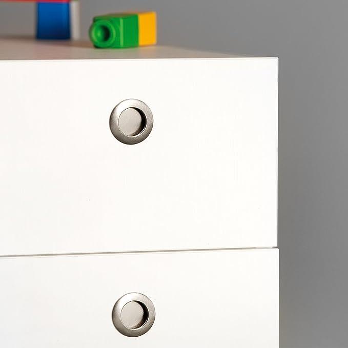 Emuca - Tirador empotrado circular Ø41mm para muebles, tirador uñero para cajones y armarios, niquel satinado: Amazon.es: Bricolaje y herramientas