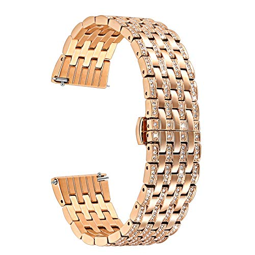 TRUMiRR for Samsung Galaxy Watch 42mm/ Active 40mm Watchband, 20mm Crystal Rhinestone Diamond Watch Band Quick Release Stainless Steel Wrist Strap for Gear S2 Classic, Garmin Vivoactive 3,Rose Gold