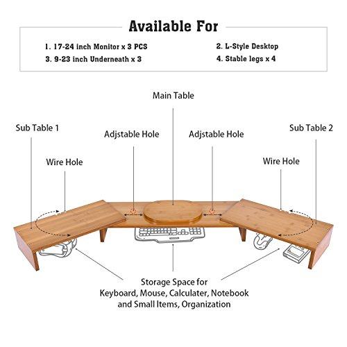 Triple Monitor Stand Riser Desktop 3 Shelf Bamboo Wood Computer Riser Screen Holder with Adjustable Lenth Angle Corner Dual PC Shelf Desktop Organizer with Keyboard Storage (42-50 inch) by Ufine (Image #2)