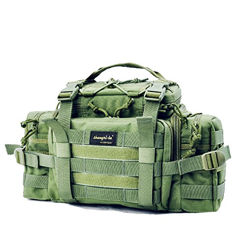 SHANGRI-LA Tactical Assault Gear Sling Pack Range Bag Hiking Fanny Pack Waist Bag Shoulder Backpack EDC Camera Bag MOLLE Modular Deployment Compact Utility Carry Bag Heavy Duty with Shoulder (Day Hike Fanny Pack)