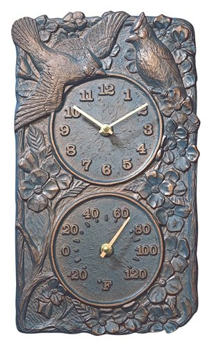 Whitehall Products Cardinal Combo Clock, French Bronze (Cardinal Thermometer Clock)