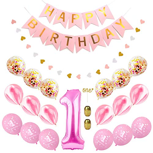 First Birthday Decorations Set, Baby 1St Birthday Party Supplies Pink and Gold Happy Brithday Banner Number One Foil Balloons and Latex Balloons for Girl and Boy Baby Shower Kit Good Photo Props]()