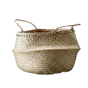Bloomingville Natural & Seagrass Folding Basket with Handles, Large, Natural