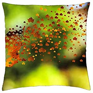 symbol autumn nature colored leaf season sign - Throw Pillow Cover Case (18