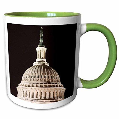 3dRose Danita Delimont - Washington DC - USA, Washington DC, Icons along the Mall, Capitol dome - US09 LFO0202 - Lee Foster - 11oz Two-Tone Green Mug - Outlets Malls Dc Washington